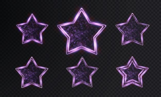 Collezione di cornici al neon con stelle luminose