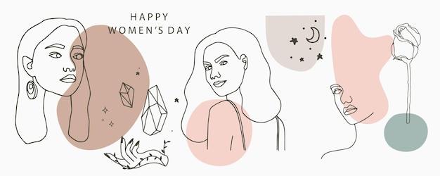 Collezione di linee di design con motivi geometrici, fiori, donna. felice giorno delle donne