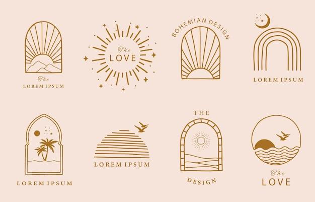 Collezione di linee di design con sole, mare, onda.