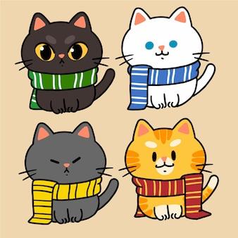 Raccolta di piccolo gattino personaggio mascotte doodle illustrazione asset