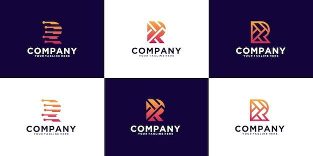 Collezione di iniziali di ispirazione per il design del logo monogramma lettera r, per nomi di aziende e aziende