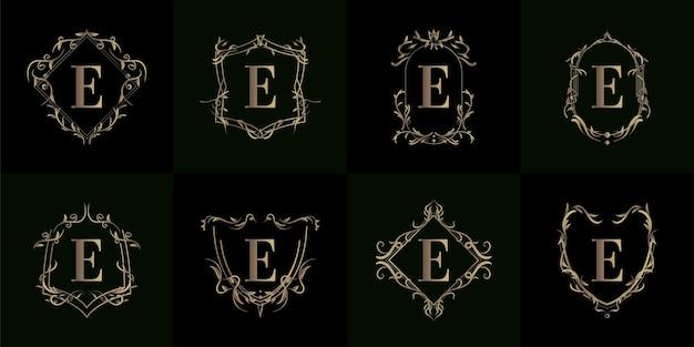 Collezione di logo e iniziale con ornamento di lusso o cornice floreale