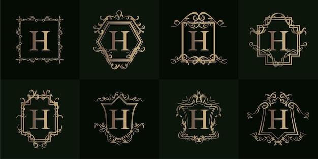 Collezione di logo h iniziale con ornamento di lusso o cornice floreale