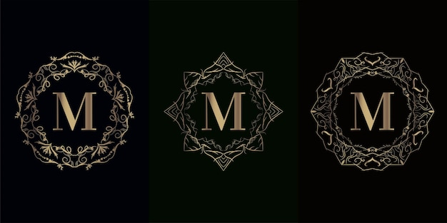 Collezione di logo m iniziale con cornice di lusso mandala ornamento cornice di lusso mandala ornamento