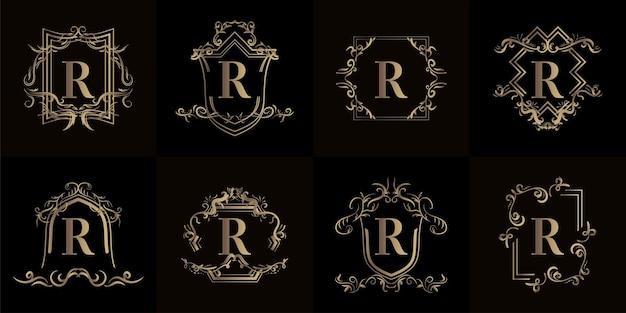 Collezione di logo r iniziale con ornamenti di lusso