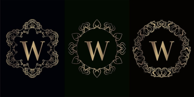 Collezione di logo iniziale w con cornice di lusso mandala ornamento