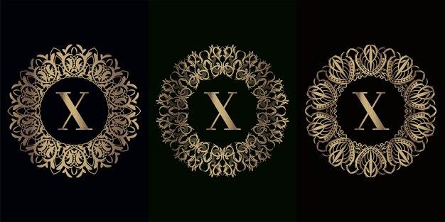 Collezione di logo x iniziale con cornice ornamento mandala di lusso