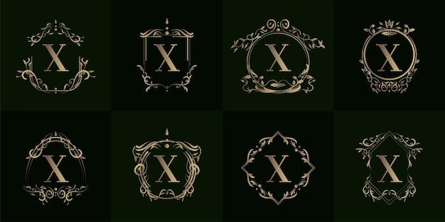 Collezione di logo x iniziale con ornamento di lusso o cornice floreale