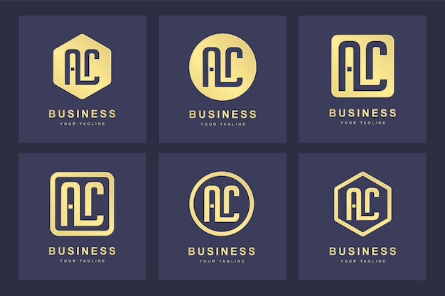 Una raccolta di lettere iniziali del logo ac ac oro con diverse versioni
