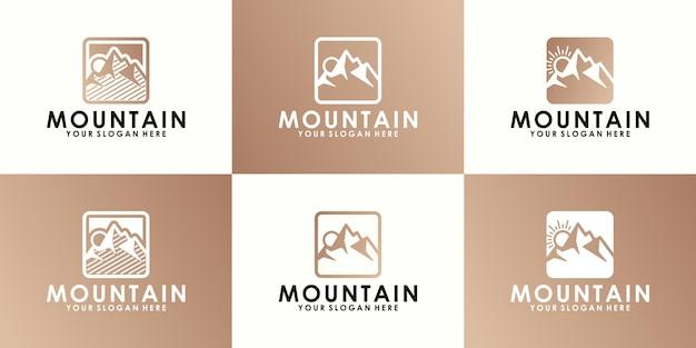 Una raccolta di loghi di montagne, montagne e natura