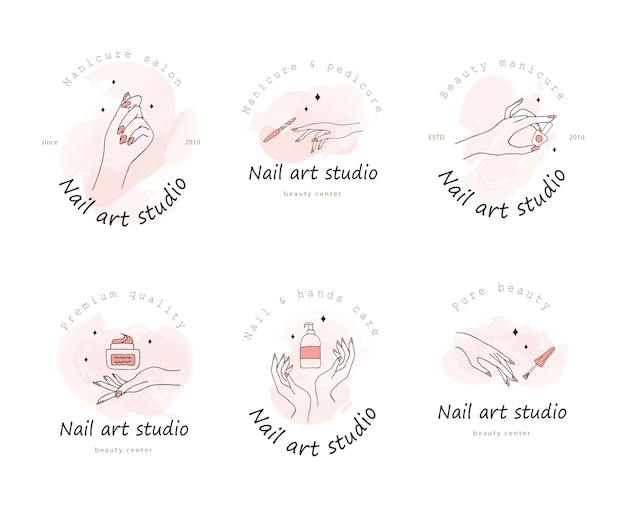Collezione di logotipi per nail art studio.