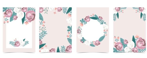 Raccolta di amore sfondo impostato con foglie fiore rosa