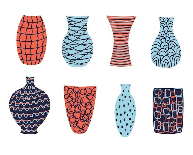 Collezione di deliziosi vasi colorati moderni per il tuo design.