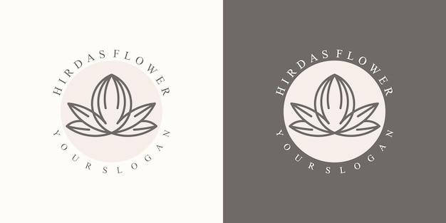 Una collezione di lussuosi loghi floreali naturali minimalisti per il marchio in chiave moderna