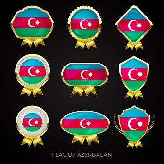 Collezione di distintivi di lusso bandiera dorata dell'azerbaigian Vettore Premium