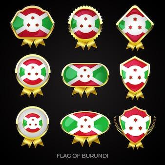 Collezione di distintivi di lusso bandiera dorata del burundi