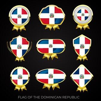 Collezione di badge di bandiera dorata di lusso della repubblica dominicana