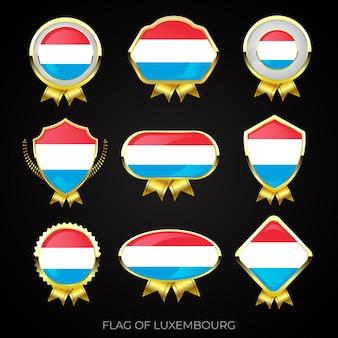 Collezione di distintivi di lusso bandiera dorata del lussemburgo