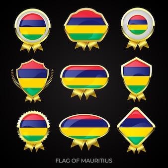 Collezione di badge di bandiera dorata di lusso di mauritius