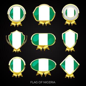 Collezione di distintivi di lusso bandiera dorata della nigeria