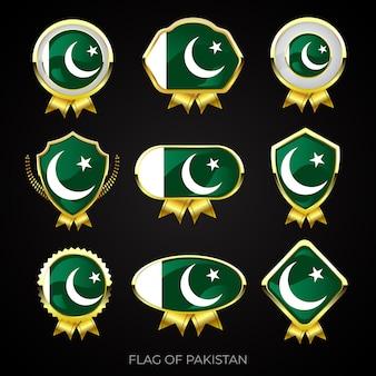 Collezione di distintivi di lusso bandiera dorata del pakistan
