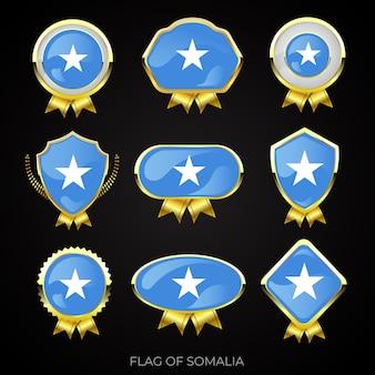 Collezione di distintivi di lusso bandiera dorata della somalia