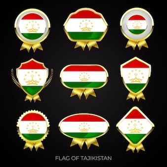 Collezione di distintivi di lusso bandiera dorata del tagikistan