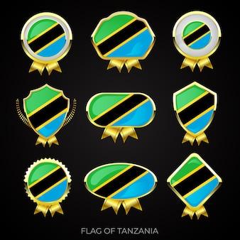 Collezione di distintivi di lusso bandiera dorata della tanzania