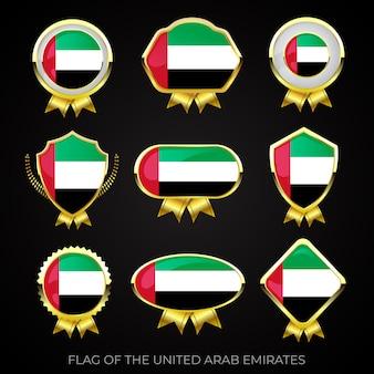 Collezione di distintivi di lusso bandiera dorata degli emirati arabi uniti