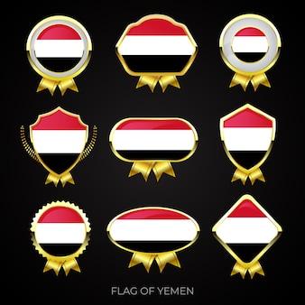 Collezione di badge di bandiera dorata di lusso dello yemen