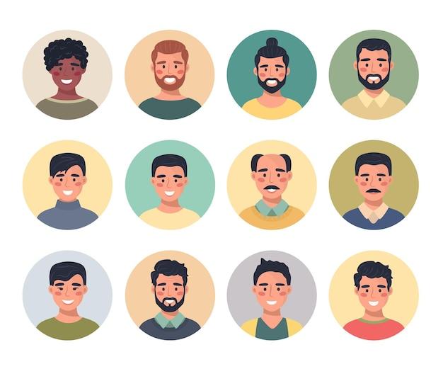 Collezione di ritratti di avatar maschili in un'icona rotonda