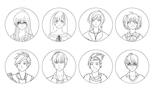 Collezione di personaggi dei cartoni animati o avatar maschili e femminili di anime o manga disegnati a mano con linee di contorno nere