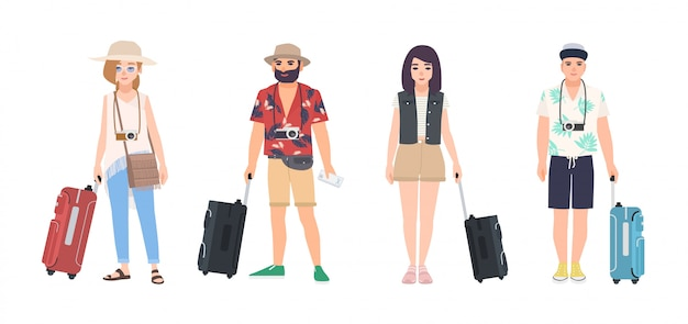 Collezione di viaggiatori maschili e femminili vestite in abiti estivi.
