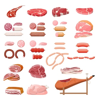 Raccolta di carne. braciola, salsicce, pancetta, prosciutto. carne e manzo marmorizzati. macelleria, steakhouse, prodotti biologici dell'azienda agricola. prodotti alimentari alimentari. bistecca di maiale fresca. illustrazione vettoriale in stile piatto Vettore Premium