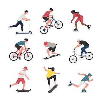 Collezione di uomini e donne che svolgono varie attività sportive con ruote.