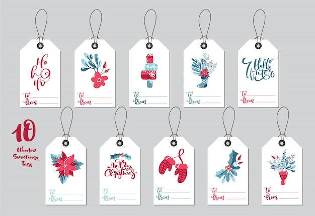 Collezione tag regalo di natale con scritte in calligrafia scritte a mano