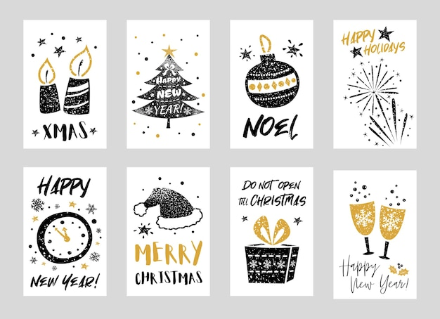 Raccolta di biglietti di auguri di buon natale e felice anno nuovo con elementi decorativi