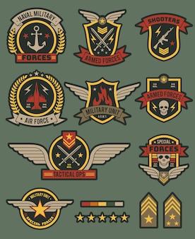Raccolta di distintivi dell'esercito militare