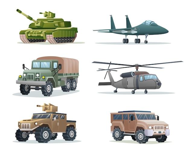 Raccolta di veicoli militari dell'esercito trasporto illustrazione isolata