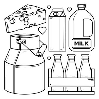 Raccolta di scarabocchi di prodotti lattiero-caseari