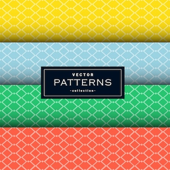 Collezione di pattern di linee nette minimali in quattro colori