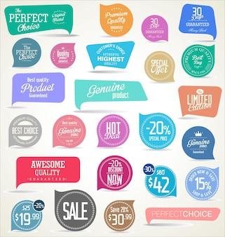Collezione di adesivi e tag colorati moderni