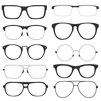 Collezione di bicchieri moderni, isolati su sfondo bianco. occhiali in stile retrò con montatura nera per uomo e donna. illustrazione vettoriale
