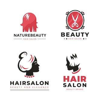 Collezione di modello di logo monocromatico parrucchiere