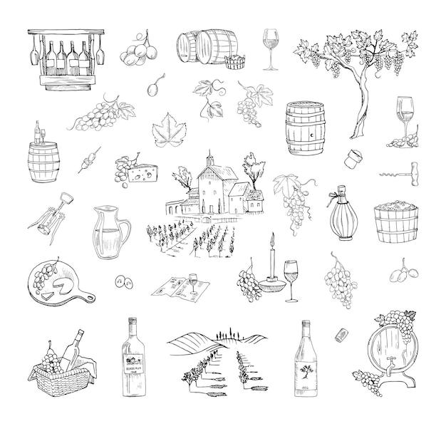 Raccolta di illustrazioni monocromatiche della produzione di vino in stile schizzo