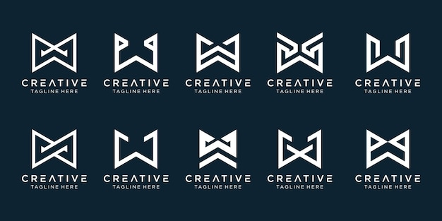 Collezione monogramma iniziali w logo modello.