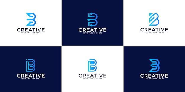 Una raccolta di ispirazione per il design del logo monogramma per la lettera b