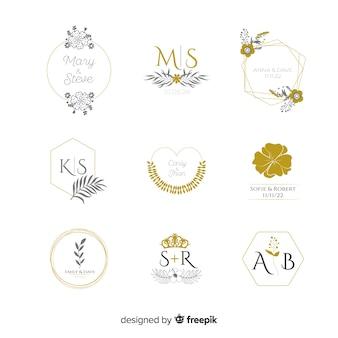 Collezione di loghi di nozze monogram Vettore Premium