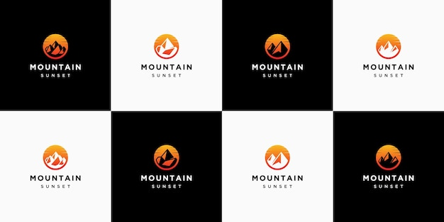 Collezione di loghi tramonto di montagna