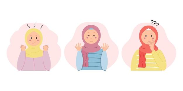 Raccolta di illustrazioni vettoriali di donne musulmane che esprimono volti arrabbiati, felici e confusi
